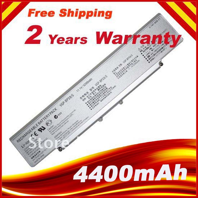 6CELL 5200mAH Battery for Sony Vaio VGN NR VGN AR VGN CR VGP BPS9A B VGP-BPS9/S VGP BPS9 Silver аккумулятор для ноутбука sony vaio sony vgp bps13 vgp bps13a vgp bps13 s vgp bps13b s vgn fw