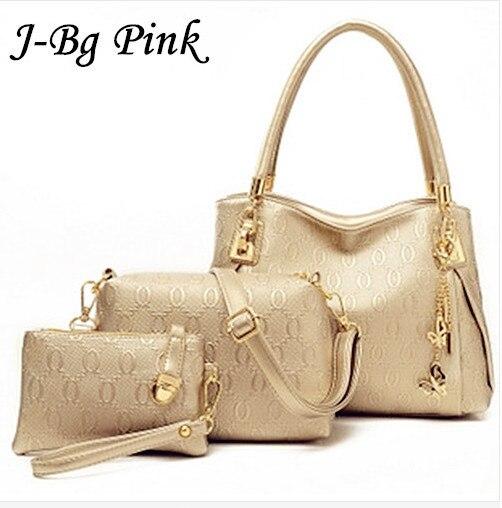 2016 women handbags leather handbag  Main ladies Brand Designer Shoulder Bag handbags+women Messenger Bag+Purse Tote 3 Sets