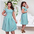 2016 Fashion Striped V Neck Summer Women Dress Oversize L-6XL Elegant Pleated Female Midi Dress Plus Size Sky Blue CC8034