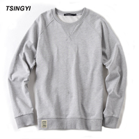 Tsingyi Autumn Pullover Solid Men S Hoodies O Neck Long Sleeve Size M 3XL Blue White