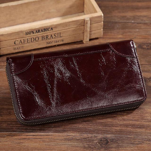 Genuine Leather Long Clutch Vintage Wallet