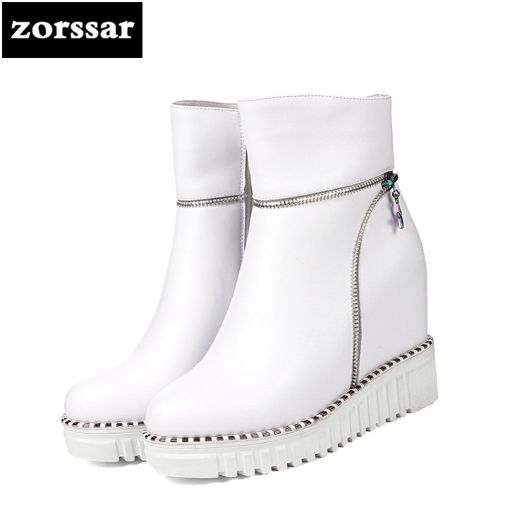 {Zorssar} Female snow boots high heels Wedges Shoes Genuine Leather Height Increasing platform Ankle Boots winter Women's Shoes zorssar 2017 new winter female shoes suede platform height increasing ankle snow boots fashion buckle high heels women boots