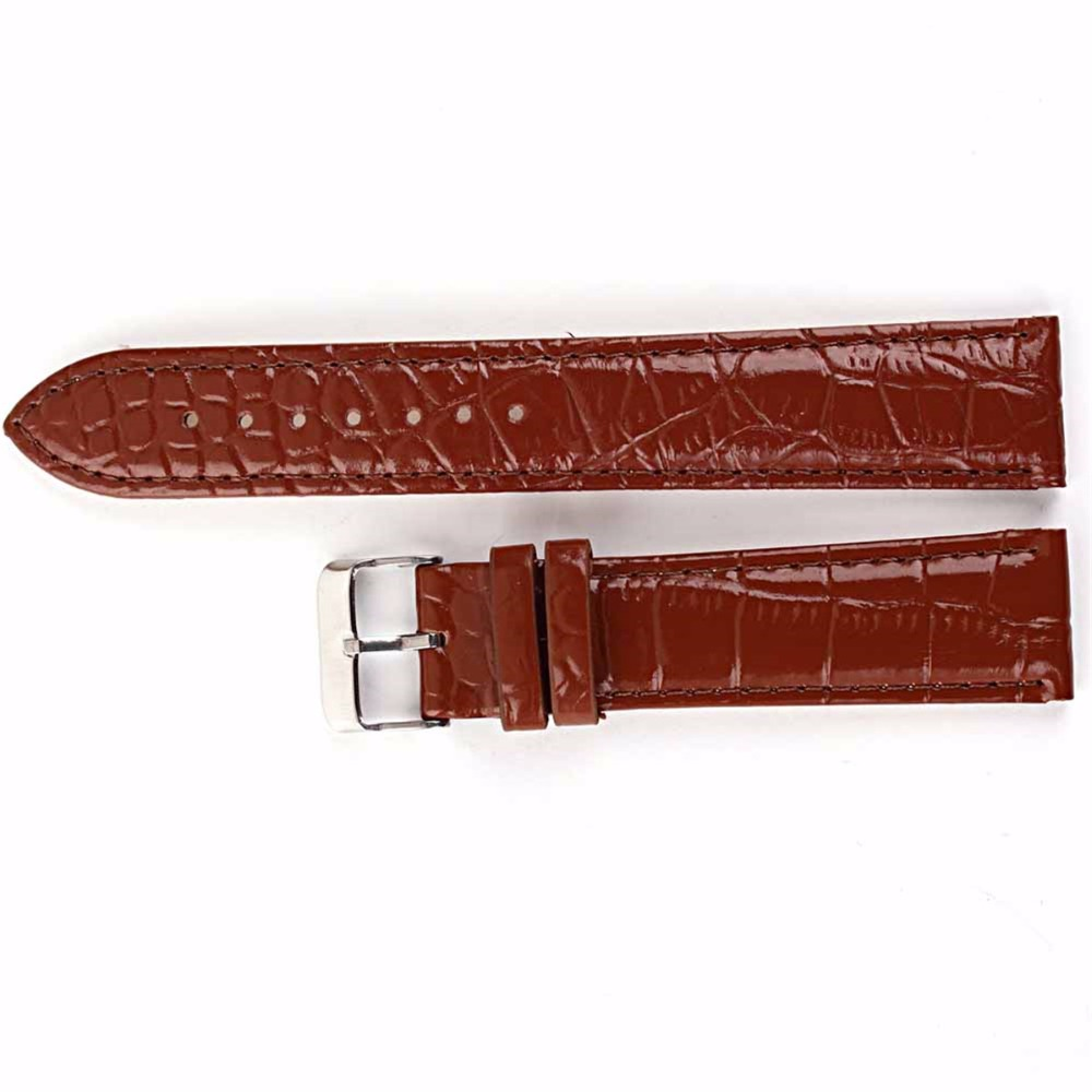 Brand New 18mm 20mm 22mm Width Men Wrist Watch Black Brown Steel Buckle Wristwatch Glossy Patent