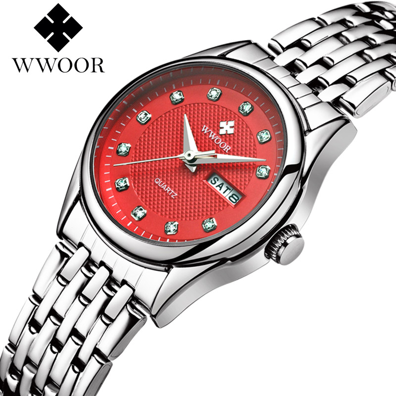Top Luxury Brand WWOOR Women Waterproof Watches Women Quartz Hours Date Clock Ladies Casual Wrist Watch Female relogio feminino watch women fashion golden women s wrist watch top luxury brand lady casual quartz clock female bracelet watch relogio feminino