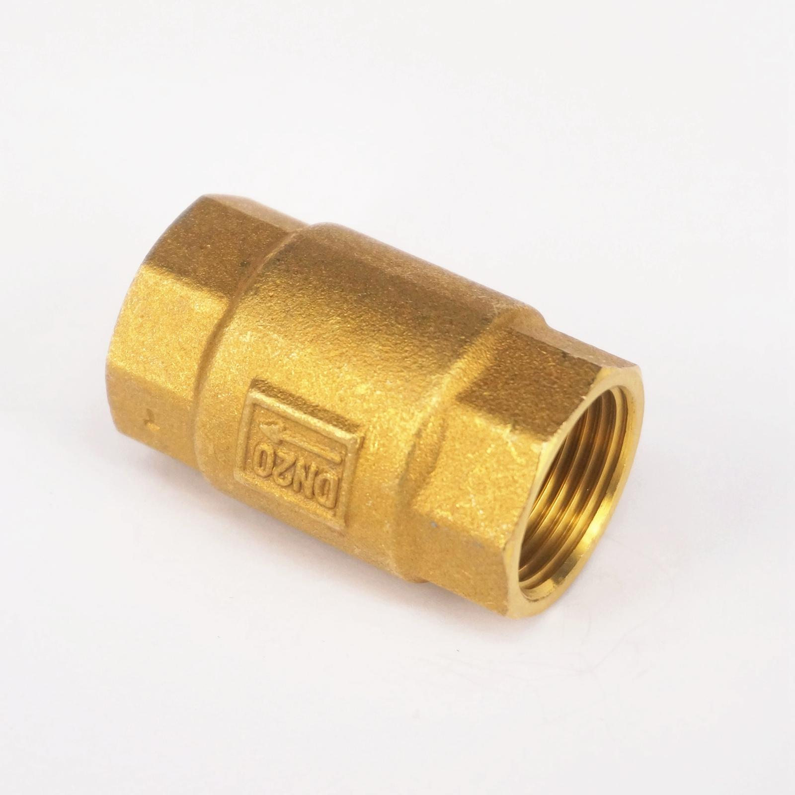 Brass check valve In-Line Spring Non Return 3/4 BSP female to 3/4 BSP female Threaded for water pipe Plumbing vertical type 1 2 pt female threaded brass tone in line check valve