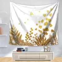 Nordic Decoration Leaf Tapestry Gold Wall Hanging Indian Mandala Geometric Green Leaves Beautiful Flower Garden Bed