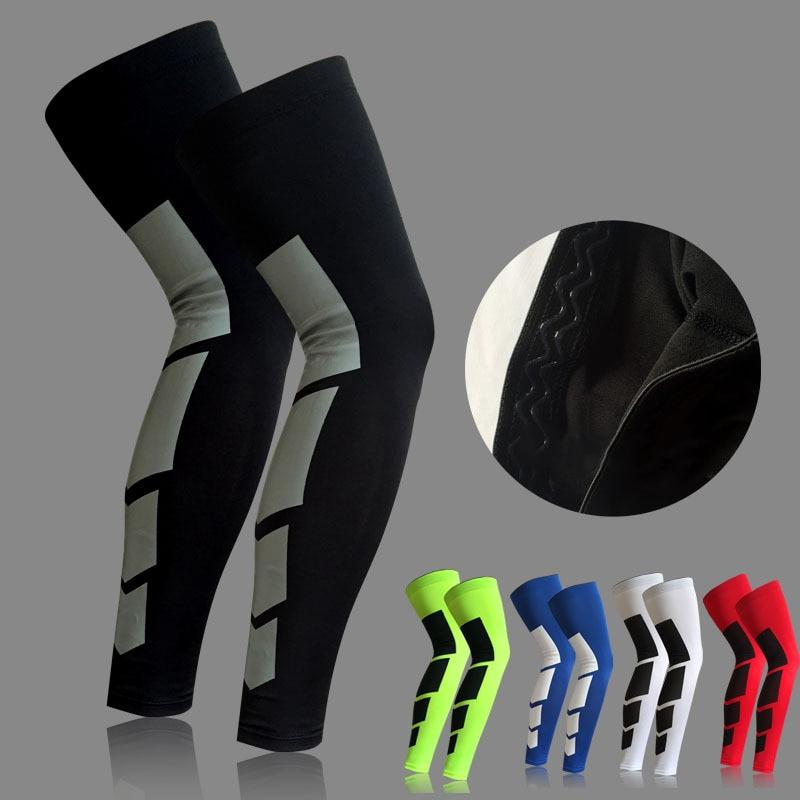 1PCS Pro Sports Silicone Antiskid Long Knee Support Brace Pad Protector Sports Basketball Leg Sleeve Knee Pad 5 Colors цена