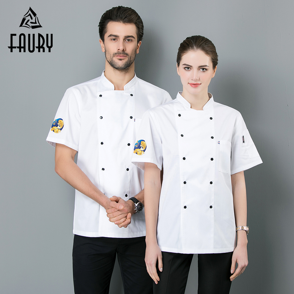 2019 New Chef Uniform Chef Jacket Women Men Restaurant Clothes Short Sleeve Workwear Clothing Hotel Kitchen Bakery Cook Shirt