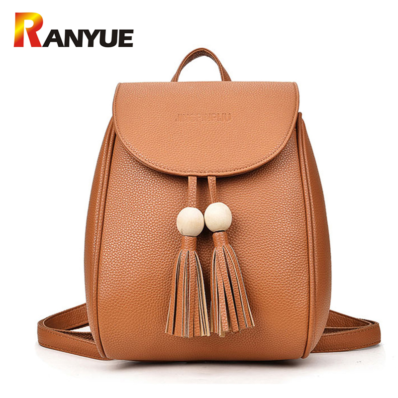 Fashion Beading Tassel Women Backpack For Teenager Girls SchoolBag PU Leather Shoulder Bags Small Black Ladies Backpack Mochila philips 40pft4100
