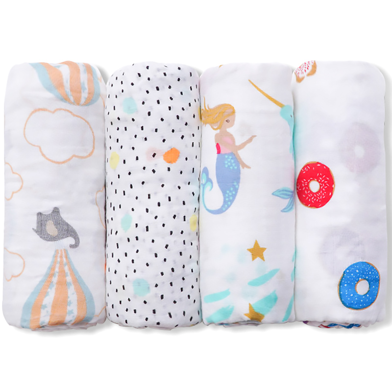 Muslinlife Baby Blanket Breathable Muslin Wrap Newborn Cotton Bamboo Fiber Baby Swaddle Multifunction Muslin Bedding 120*120cm