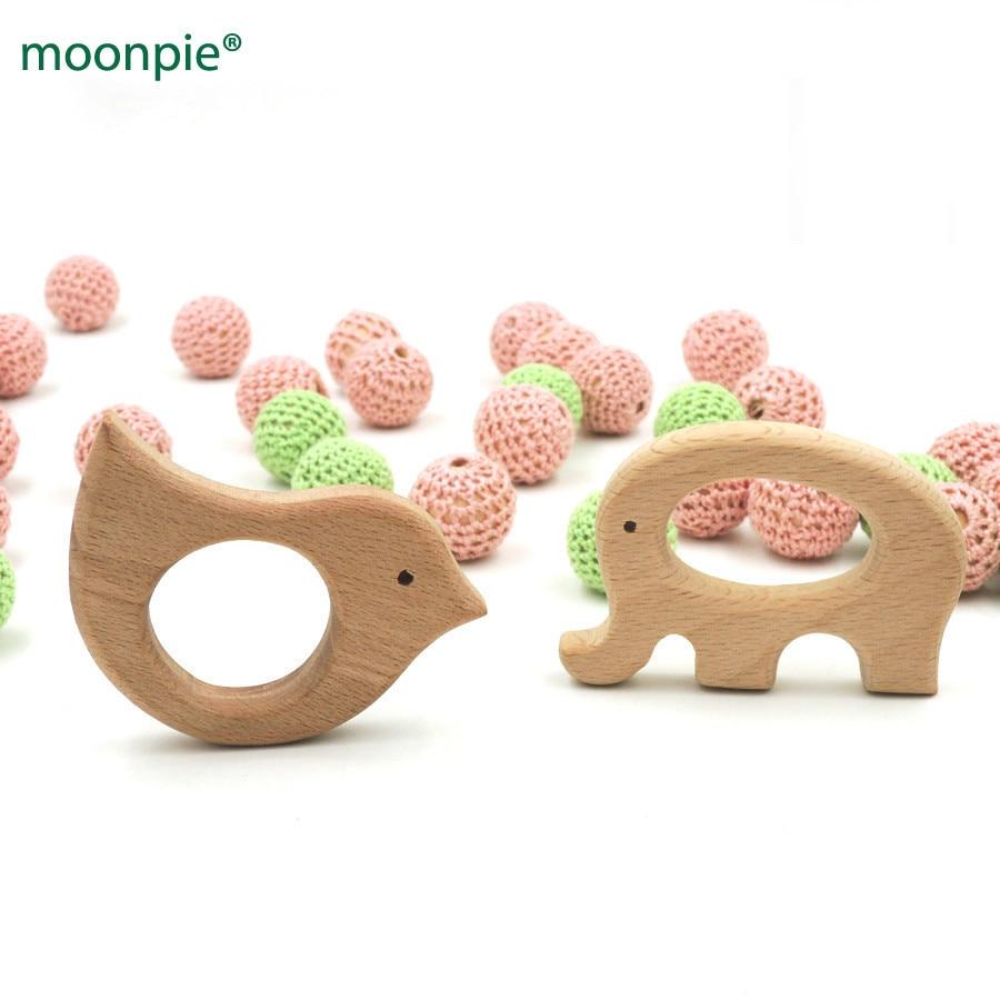 10шт х 70мм DIY органічний бук слон і птах кільця прогулянковий іграшки DIY ручної роботи дерев'яні teethert EA50