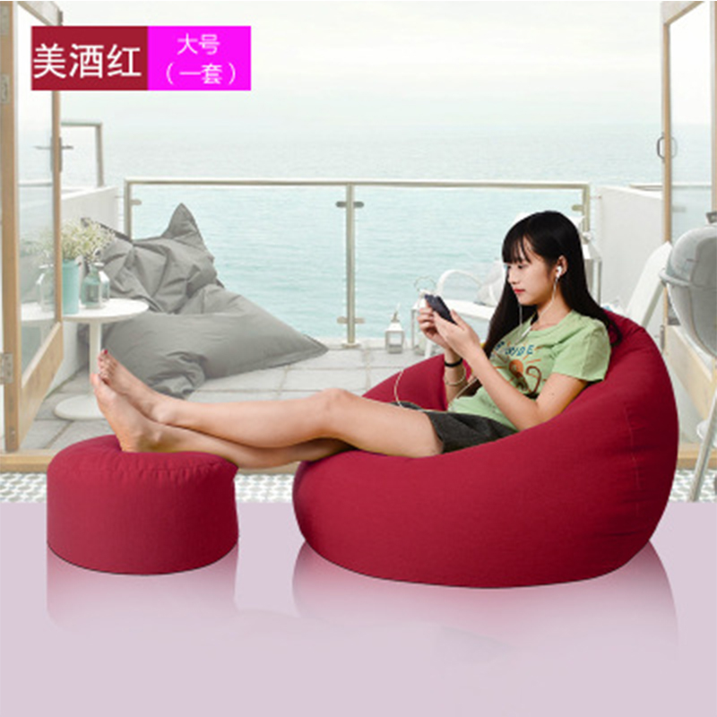 Bean Bag Cover Lounger Sofa Chairs Ottoman Set Outdoor Pouf Puff