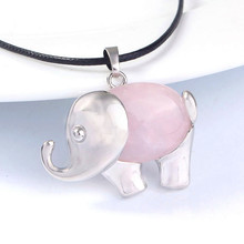 Trendy-beads Unique Silver Plated Natural Rose Pink Quartz Elephant Pendant For Christmas Animal Jewelry