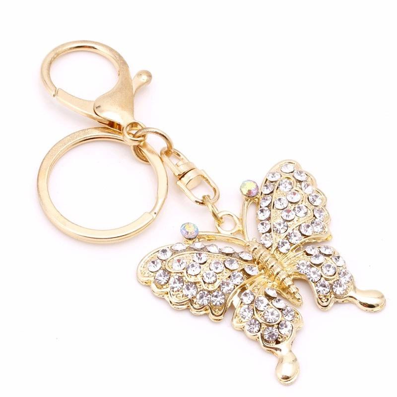 Модные очаровательные брелок горный хрусталь, металлическая бабочка брелок Подвеска Кошелек сумка подарок