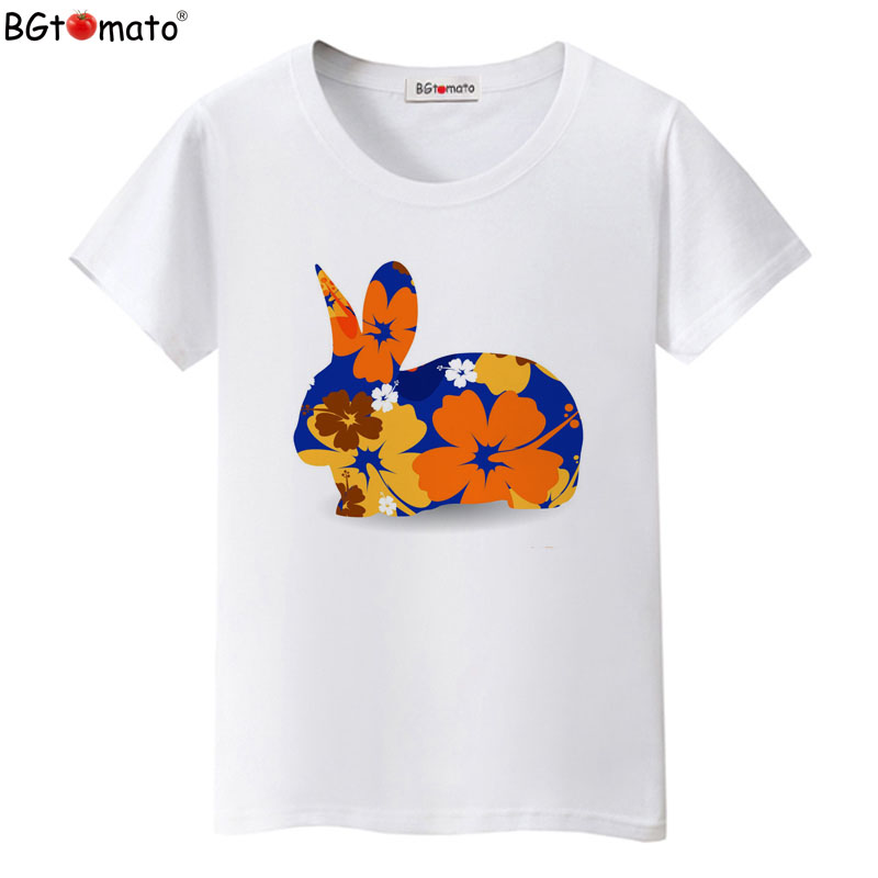 BGtomato Colorful design rabbit t-shirts Beautiful women short sleeve casual shirts Good quality brand tops cool tees cheap sale