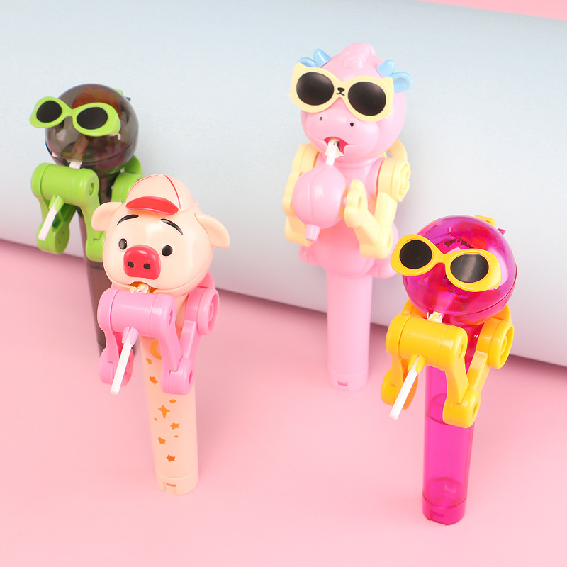 1PCS Creative Personality Toys Lollipop Holder Decompression Toys Lollipop Robot Candy Dustproof Storage Novelty Toy Gift