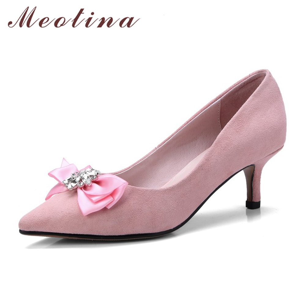 Meotina Kitten Heels Genuine Leather Shoes Women Bow High Heels Pumps Shoes Spring Crystal Luxury Party Shoes Ladies Pink Black meotina genuine leather women shoes female plaid party shoes block heel bow strap high heels kid suede ladies pumps 2018 spring