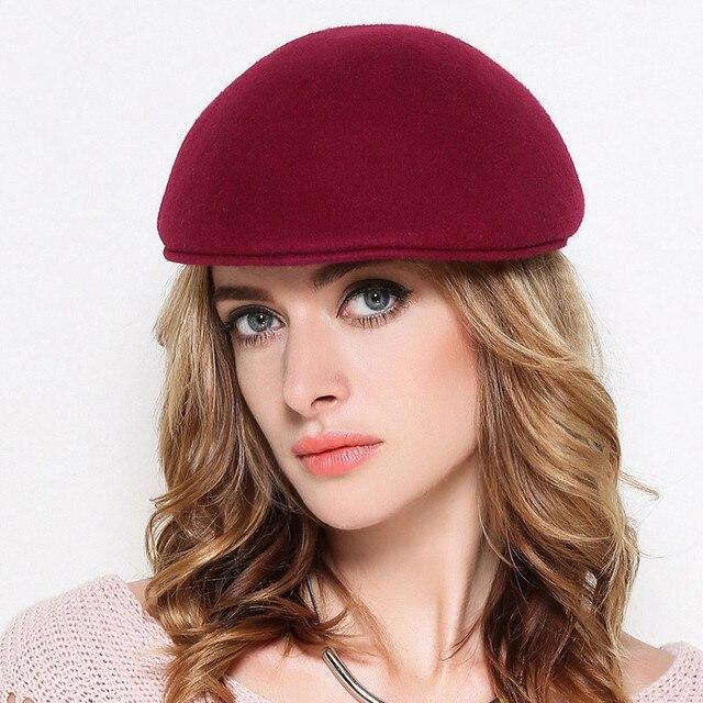 f2d07adad0fea8 Mother Gift Female Autumn And Winter Party Formal Headwear Women 100% wool  Felt Solid Beret