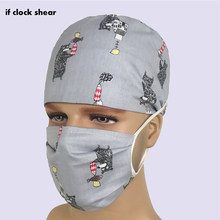 IF Unisex cotton breathable print adjustable pet hospital work hats surgical caps doctor nurse caps beauty pharmacy spa uniform(China)