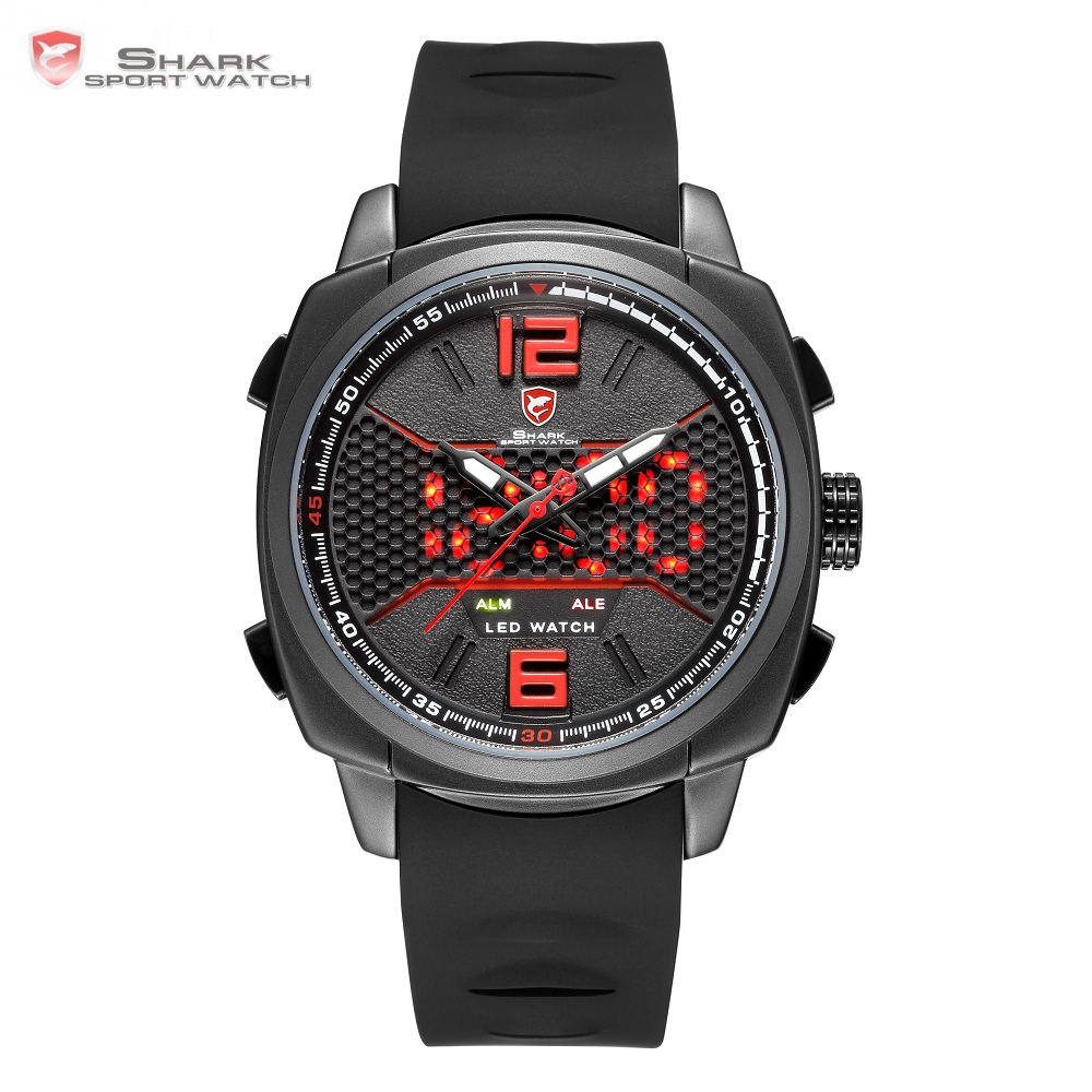 Whitetip Reef Shark Sport Watch Black Red Honeycomb Dial Face With Soft Silicone Strap LED Dual Movement Digital Watches /SH488 goblin shark sport watch 3d logo dual movement waterproof full black analog silicone strap fashion men casual wristwatch sh165