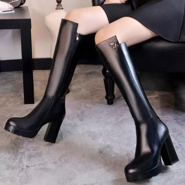 2017 Botas Mujer Big Size 34-44 brand Design Color Knee Boots Thick High hells Platform Slim Long Winter Autumn 7-58