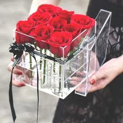 Acrílico transparente organizador de maquiagem material cosméticos caso titular rosa caixa de flores com tampa organizador de maquiagem para o dia dos namorados