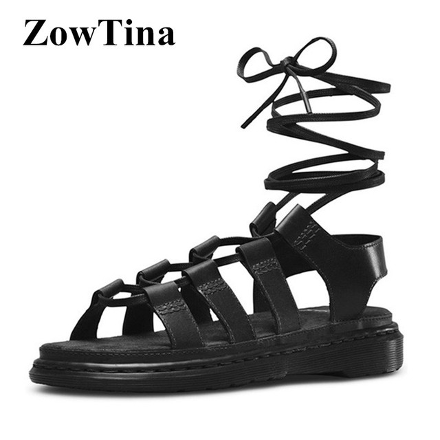 4bd699bed Gladiator Strappy Women Flats Sandals Black Leather Beach Sandalias Mujer  Fashion Casual Stilettos Ladies Shoes Platform