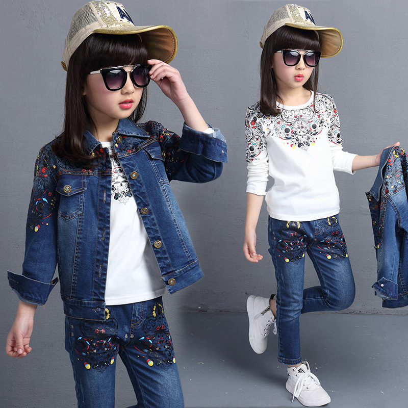 Girls clothing sets autumn Children Denim Coats and Pants Kids Floral T-shirt Teenage Turn-down Collar Tops and Jeans TrousersGirls clothing sets autumn Children Denim Coats and Pants Kids Floral T-shirt Teenage Turn-down Collar Tops and Jeans Trousers