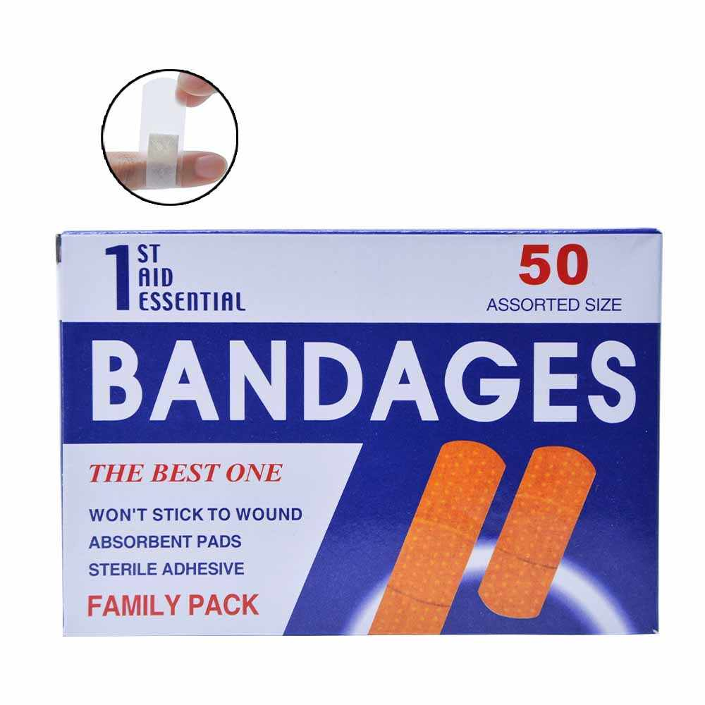 50Pieces/1Box Waterproof First Aid Bandage Hemostatic Medical Disposable  Band-Aid with a Serile Gauze Pad First aid Z13401