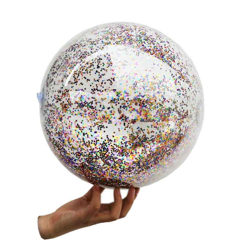 Glittering Transparent Beach Ball Pool Play Ball Inflatable Ball Photo Props Kids Toy Party Toys
