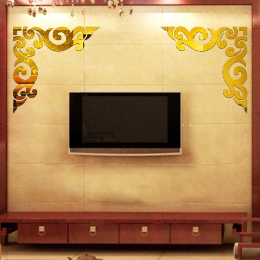 Luxury Sticker Diagonal Corner Line Acrylic Mirror Wall Stickers Diy ...