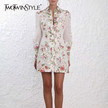 TWOTWINSTYLE Flower Embroidery Dress For Women Lapel Collar Lantern Sleeve High Waist Mini Vintage Dresses Female 2019 New - DISCOUNT ITEM  39% OFF All Category