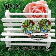 20 шт. 30 мм бамбука и бабочки, деревянные кнопки для шитья одежды, ботинки, аксессуары для пальто, MCB-602