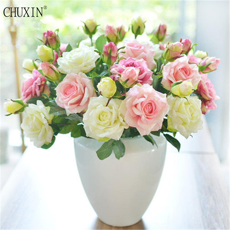 5pcs/lot Vivid Real Touch 2 heads Rose Colourful High Quality Artificial Silk Flower For Wedding layout home Party Decoration