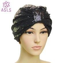 2018 nova moda elegante feminina lantejoulas headscarf caps envoltório cabeça turbante macio atada turbante gorro gorro para senhoras