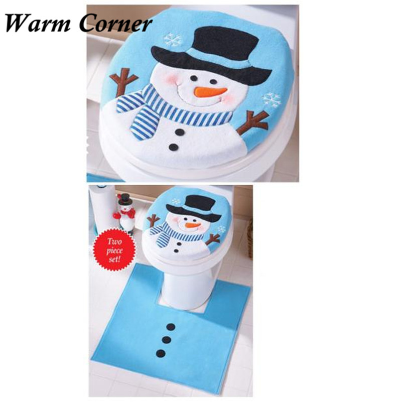 2017 2pcs Set Fancy Snowman Toilet Seat Cover And Rug Bathroom Set Christmas Decor Halloween Free Shipping Sept 19