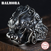 BALMORA 925 Sterling Silver Brave Troops Open Rings for Men Vintage Animal Ring Thai Silver Fashion Jewelry Anillos SY22057