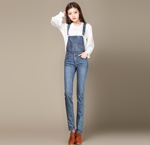 7ab90727aeb Free Shipping New Fashion girls Fahion bib jeans overalls trendy plus size  clothing slim leg pants women denim pants Size 26-40