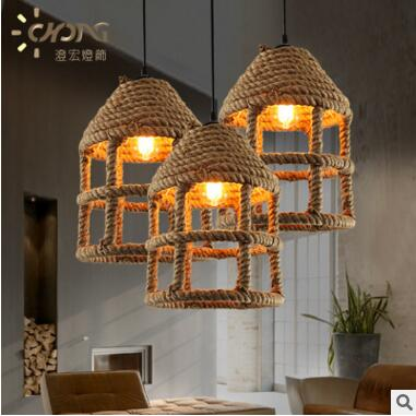 Rope Loft Style Industrial Lighting Retro  Vintage Pendant Lights Fixtures Hanging Light Lamparas Colgantes nordic resin retro loft style industrial lighting vintage pendant lamp fixtures dinning room led hanging light lamparas