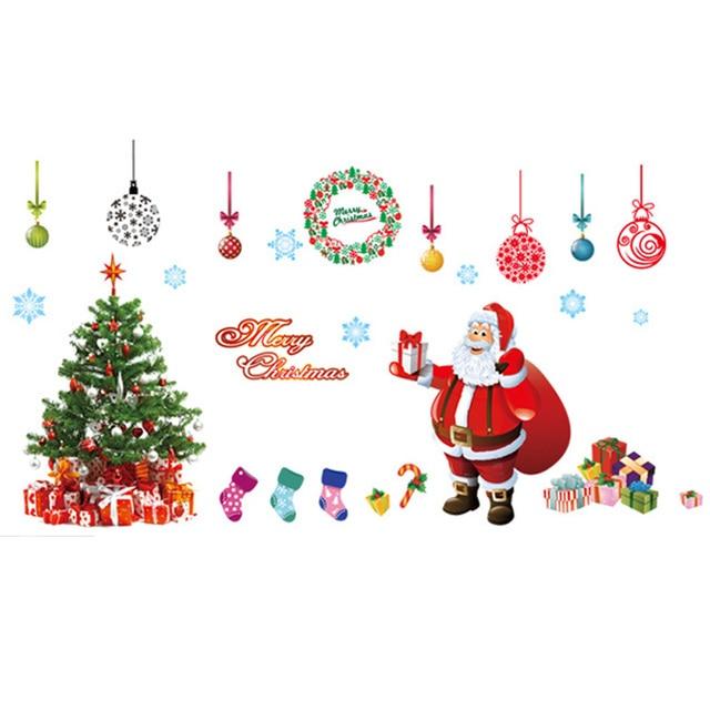 New Year Christmas Wall Stickers Christmas Tree Festival Shop Window