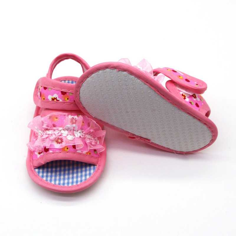 Летние сандалии для малышей для маленьких девочек и мальчиков; платье принцессы с цветочным рисунком, босоножки, детская обувь с цветочным принтом, хлопковые пляжные сандалии