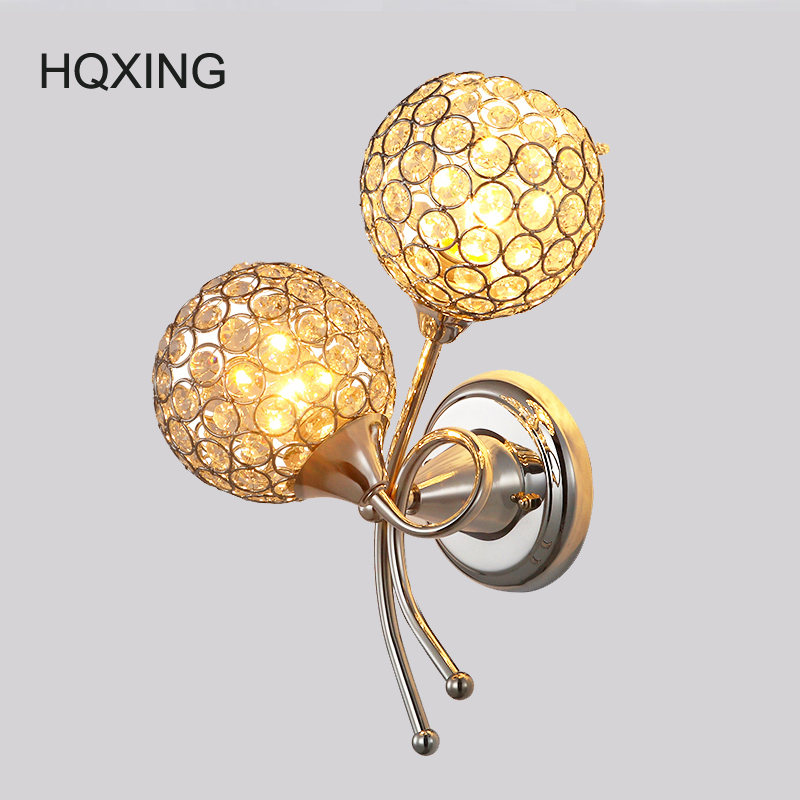 HQXING Modern double headed crystal wall lamp/ Bedroom bedside Led lamp/ The stair adornment lamps and lanterns free shipping hqxing modern bedside wall lamp bedroom stair lighting crystal wall lights e27 led bulb silver gold led lamp for bedroom decor