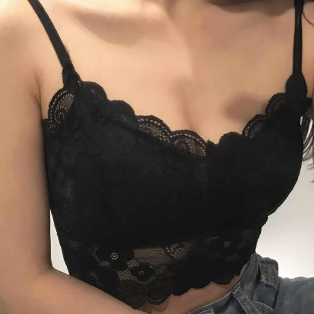 2019 女性美容パッド入りラップ胸のブラのレースストラップチューブトップ下着セクシーなレースキャミソール