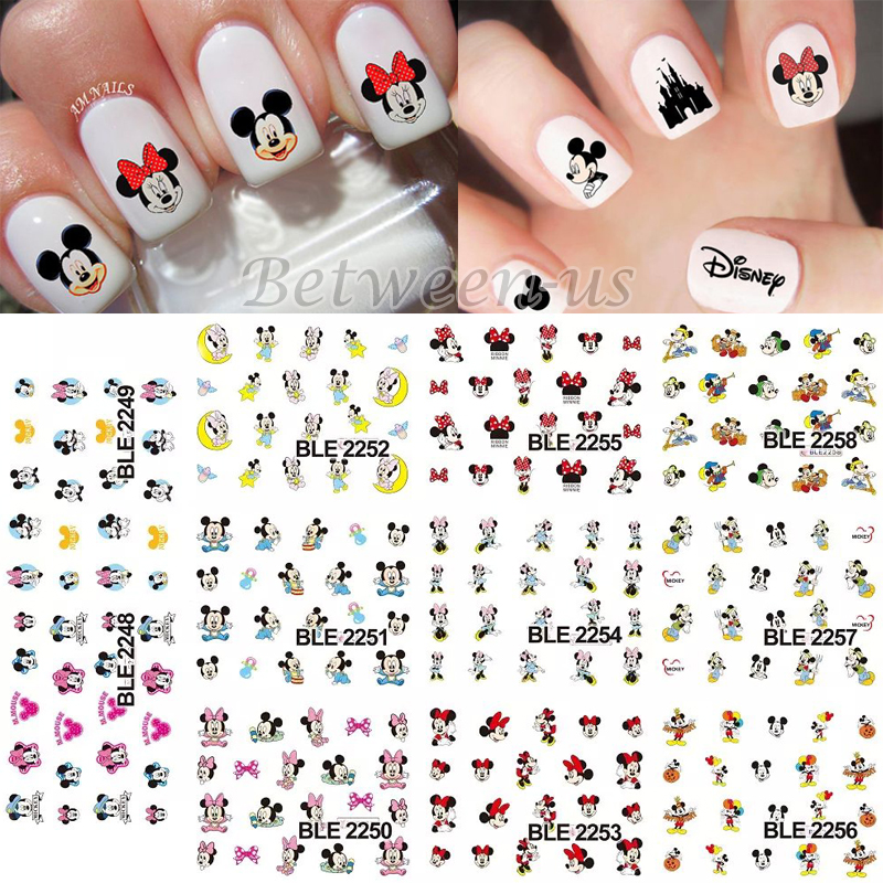 Hot sale water transfer nail art stickers nail water decals lovely hot sale water transfer nail art stickers nail water decals lovely cartoon mickey mouse design diy nail accessories ble2248 2258 in stickers decals from prinsesfo Choice Image