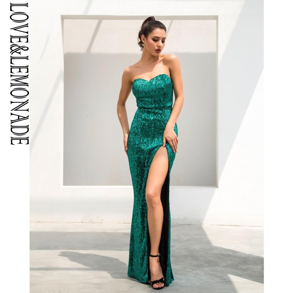 Love Lemonade Green Tube Top Fish Tail Shaped Elastic Sequin Material Long Dress LM1056