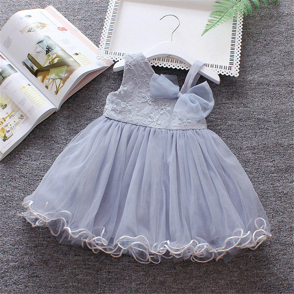 5a945c228946e Solid christening Toddler Dresses Korean version Baby Girls ...