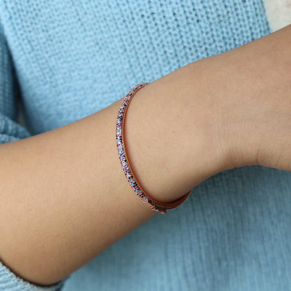 2018 mùa hè mới thiết kế hỗn hợp màu đá CZ BAN NHẠC CUFF BANGLES may mắn cô gái phụ nữ thời trang micro pave bangle vòng đeo tay Mới