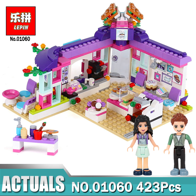 Lepin 01060 Girls Series Toys 423Pcs The Art Cafe Set Compatible 41336 Model Building Blocks Bricks Educational Kids Toys Gifts little white dragon assembling toys educational toys girl fantasy girls beach villa 423