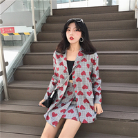 TYHRU Ladies Elegant Retro Plaid Striped Suits Red Heart Pattern Single Breasted Commuter Suit Female OL 2 Pcs Sets