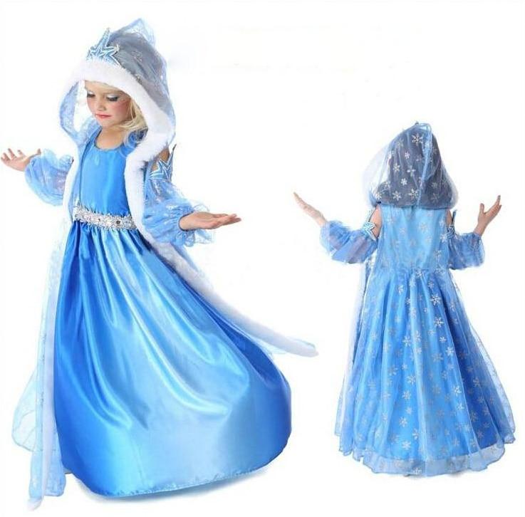 Retail new dress, European and American fashion Elsa Anna dress, 100% princess dress, animated cartoon dress. free shipping